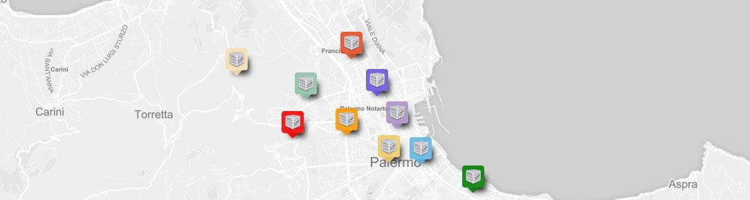 Mappa stazioni di monitoraggio polveri sottili 2016 della Città di Palermo