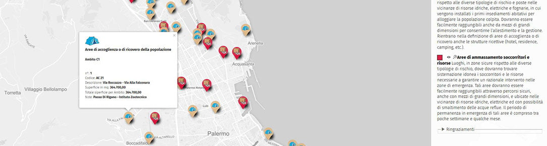 Mappa Aree di ammassamento e di accoglienza - Protezione Civile Palermo 2016