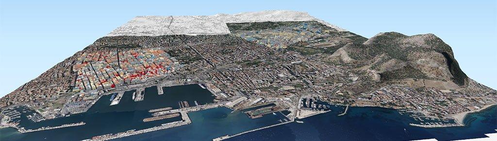 Mappa 3D - Vulnerabilità sismica degli edifici residenziali di Palermo - Qgis