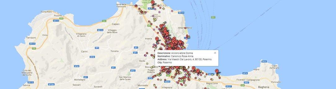 Geocoding sull'elenco opendata degli acconciatori ed estetisti Città di Palermo