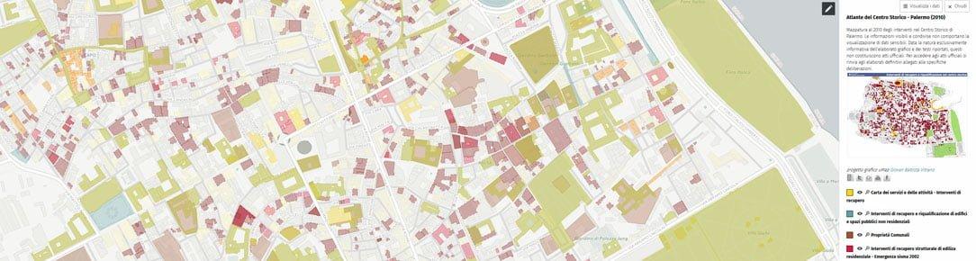 Mappatura al 2010 degli interventi nel Centro Storico di Palermo