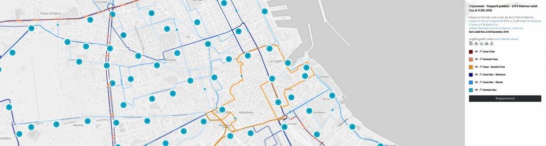 Mappa con fermate, linee e orari dei Bus e Tram della Città di Palermo