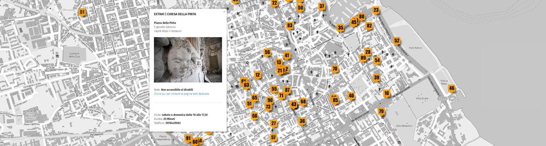Rielaborazione della mappa le Vie dei Tesori Città di Palermo