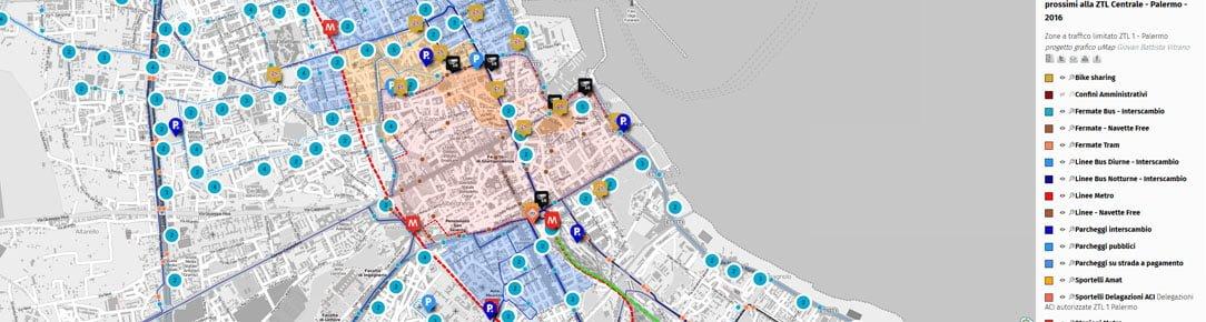 Mappa ZTL e servizi di mobilità urbana prossimi alla ZTL Centrale 2016 Città di Palermo