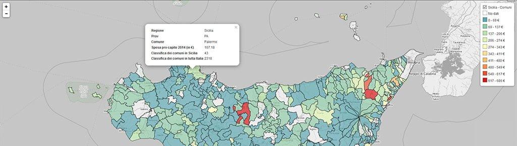Mappa soldi spesi i comuni siciliani per la mobilità