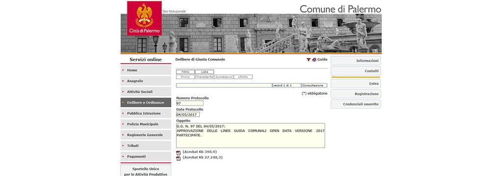 Palermo - linee guida comunali open data versione 2017