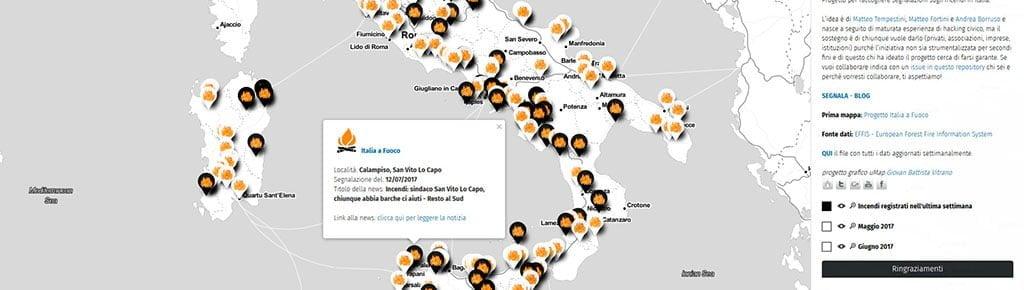 Italia - Mappa news incendi registrati nel 2017